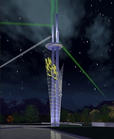 A Render Of The Millennium Tower At Night