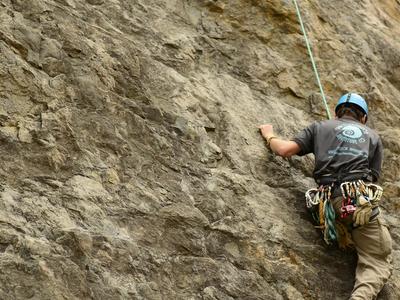Climbing To Set An Anchor