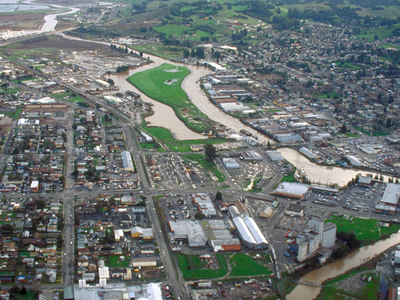 Aerial View Of Petaluma Cal.  View Is To The Southeast