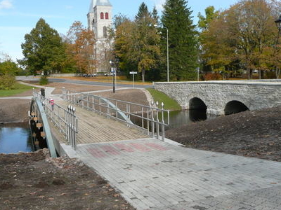 Bridges Over Vigala River. Rapla Church In The Background.