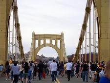 Crossing Roberto Clemente Bridge Enroute PNC Park - Pittsburgh PA