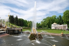 Fountain At Peterhof Palace In St. Petersburg