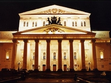 Night Lit Historic Bolshoi Theatre In Moscow