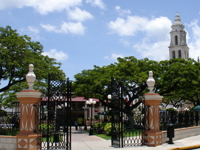 Main Plaza And Cathedral Of Campeche