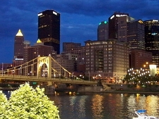 Roberto Clemente Bridge & Pittsburgh Skyline From PNC Park Riverwalk - Pennsylvania