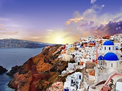 Sunset Over Santorini In Greece