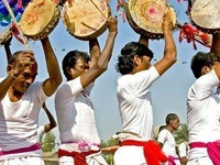 A Tharu Dance On The Occasion Of Tharu Festival In Sauraha Chitwan Nepal