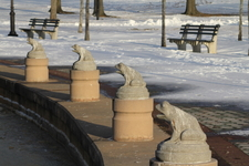 A Row Of Stone Frog Statues Graces