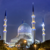 Shah Alam Blue Mosque At Night