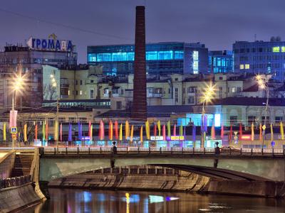 Night View Of Maly Krasnokholmsky Bridge