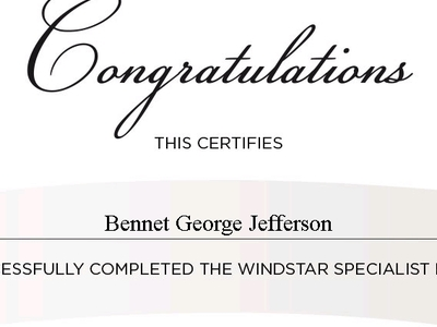 Windstar Certificate