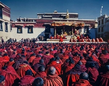 The Buuddhist Prayer Meeting In 1989 In Jokhang Temple Of Lhasa Tibet