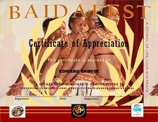 Baidafest Certificate