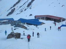 Annapurna Base Camp Is In Ice.