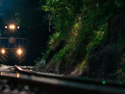 The Train Passing By Aguas Calientes.