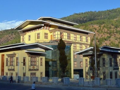 The Bhutan Power Corporation Headquarters In Thimphu. Bhutan\'s Principal Export Is Hydroelectricity.