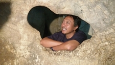 Take Picture In Side Of The Cave Stone.