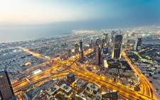 Dubai Burj Khalifa View From Top Night Lights Wallpapersbyte Com 3840x2400