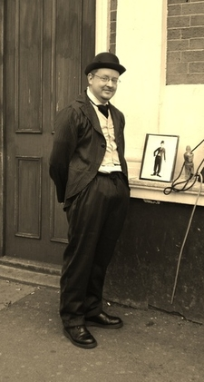 Chaplin Walk By Station Bw