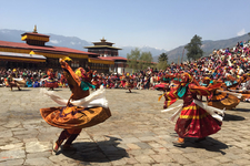 Monks Performing Mask Dance At A Famous Annual Festival Of Paro Tshechu, Western Bhutan.