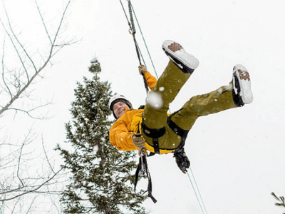Ziplining Winter Western Newfoundland And Labrador Canada
