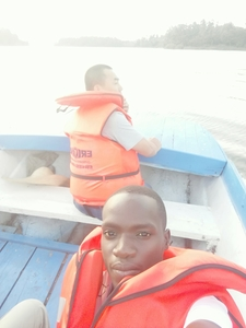 Boat Cruising With A Client To The Punishment Island On Lake Bunyonyi-kabale