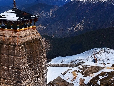 A Winter Snap Of The Snowcapped Himalayas And The Tungnath Temple In Chopta In Uttarakhand