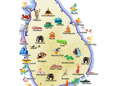 Travel Illustrated Map Of Sri Lanka Small Copy