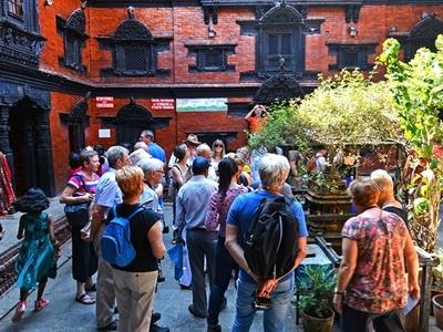 Tourist Visiting Kumari In Kathmandu