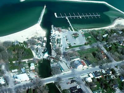 Aerial View Of The Shore And Harbor At Leland Michigan