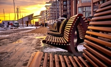 Aker Brygge Area Benches In Oslo