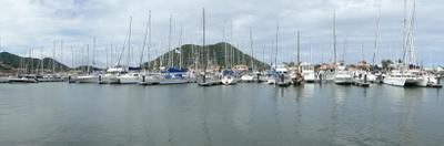 A Panorama Of Rodney Bay Marina Showing Pigeon Island