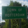 A Sign Depicting The Entrance To Town Of Rotterdam On New York
