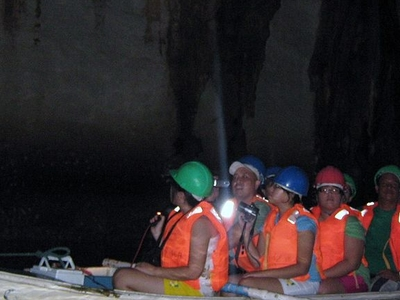A Tour Boat Inside The Underground River