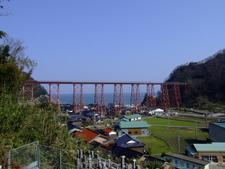 Amarube Viaduct With The Sea