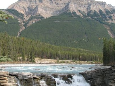 Mount Kerkeslin Seen From Athabasca Falls