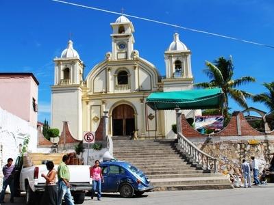 Atrium And Facade Of The Church Of San Pedro In Pochutla
