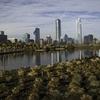 Bicentenary Park With Santiago De Chile