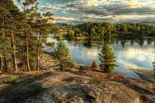 Biya River At Turochak Village In Russia