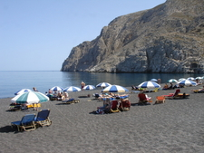 Black Beach In Kamari Santorini