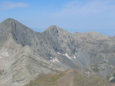Blanca Peak In Left And Ellingwood Point  In Center