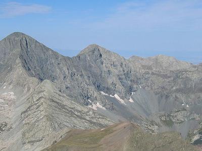 Blanca Peak In Left And Ellingwood Point  In Center
