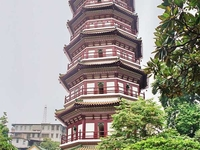 Seis árboles de Banyan y Pagoda de las flores Temple