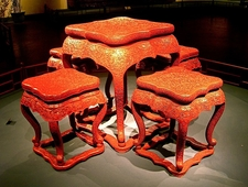 Carved Lacquer Furniture At Shanghai Museum