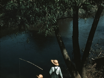 Children Fishing In Bayou At Schiever