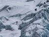 Climbers At Khumbu Icefall In Nepal Himalayas
