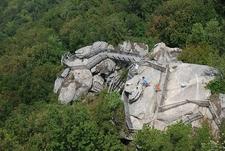 Climbing Up Chimney Rock - North Carolina