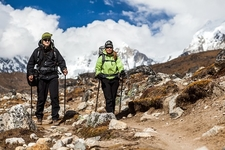 Couple Hiking In Nepal Himalayas
