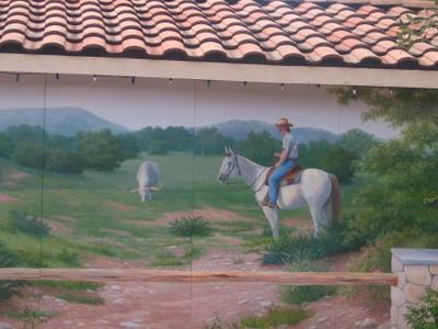 Cowboy Mural In  Bandera