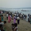 Crowd At The Beach In The Evening